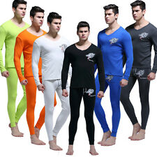 Cotton Mens Thermal Underwear Set Wolf Cartoon Long Johns Top & Bottom Sleepwear