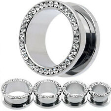 Unisex Stainless Steel Flesh Tunnel Glossy Faux Crystal Stretcher Ear Plug4-10mm