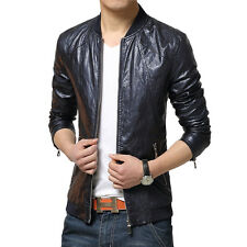Autumn Men's Fashion Slim Fit Casual Motorcycle PU Leather Jacket Coat Outwear