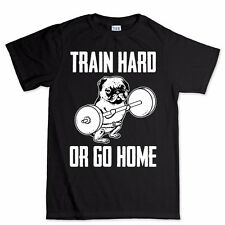 Train Hard Pug Fitness Sports Running New Training Exercise T shirt Top