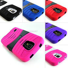 For Samsung Galaxy S5 SV Hybrid Hard Case Skin Curve Stand+Tempered Glass Screen