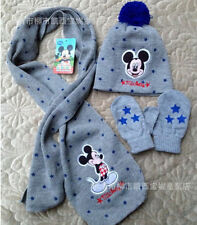 Lot Mickey Mouse knit beanie hat children winter knitted scarf gloves hat set