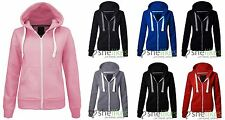 NEW WOMENS LADIES ZIP HOODED SWEATSHIRT PLUS SIZE ZIPPER PLAIN HOODIE JACKET