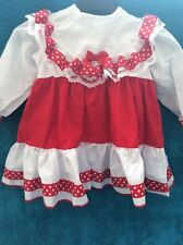 DREAM GIRLS ROMANY SPANISH RED SMOCKED LINED DRESS ALL SIZES  or REBORN DOLLS