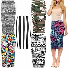 LADIES WOMENS STRETCHY PRINTED JERSEY BODYCON PENCIL SKIRT MIDI TUBE SIZE 8-14