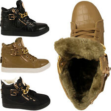LADIES FUR LINED BOOTS WOMENS FLAT CHAIN ZIP LACE BUCKLE ANKLE SHOES SIZES 3-8