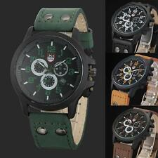 Vintage Men's Waterproof Watch Date Leather Strap Sport Watch Quartz Army Watch
