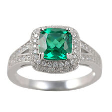 2 CT Green Emerald White Sapphire 925 Sterling Silver Cocktail Ring Size 5-12
