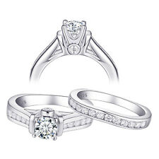 3.2CT White CZ 925 Sterling Silver Gold Plated Wedding Engagement Ring Set Sz6-9