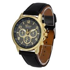 Unisex fashion Geneva Faux Leather Quartz Analog gift unique Wrist Watch Watches