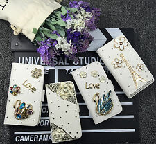 Bling Rhinestone Flip PU Leather Card Holder Wallet Phone Case Cover Pouch L6