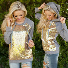 Sexy Gray Women Coat Sequins Long Sleeve Pullover Shirt Hooded Tops Sport Shirt