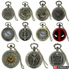 Stainless Steel Full Hunter Vintage Pocket Watch Quartz Necklace Chain Gift UK
