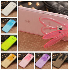 Lovely Rabbit Ear Stand Crystal Soft TPU Case For Samsung Galaxy S6 + Neck Strap