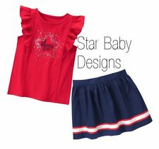 NWT Gymboree 4TH OF JULY Outfit Shining Star Flutter Tee,Skirt Size 5,6,7,8,10