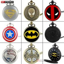 Marvel Superman Captain America Retro Pocket Watch Chain Quartz Necklace Gift UK