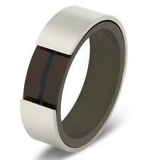 Rotating Grooved Center Brushed Stainless Steel Spinner Band Ring Comfort Fit