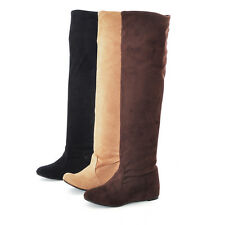 Women's Slouch Shoes Stretchy Faux Suede Wedge Heel Knee High Boots AU Size b044