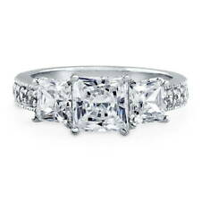 BERRICLE Sterling Silver 3.25 Carat Princess Cut CZ 3-Stone Engagement Ring