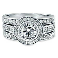 BERRICLE Sterling Silver Round CZ Halo Engagement Wedding Stackable Ring Set