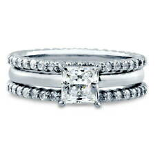 BERRICLE Sterling Silver 2.11 Carat Princess CZ Solitaire Engagement Ring Set