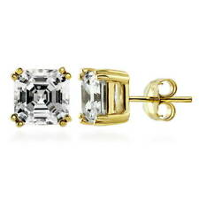 BERRICLE Gold Flashed Sterling Silver Asscher Cut CZ Solitaire Stud Earrings