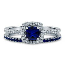 BERRICLE Silver Cushion Simulated Sapphire CZ Halo Engagement Ring Set 0.89 CTW