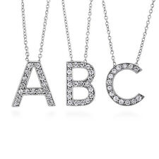 BERRICLE Sterling Silver CZ Initial Letter Fashion Pendant Necklace