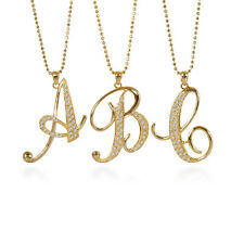 BERRICLE Gold-Tone Rhinestone Initial Letter Fashion Pendant Necklace
