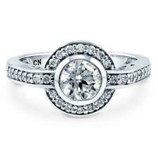 BERRICLE Sterling Silver Round Cut CZ Halo Engagement Ring 1.14 Carat