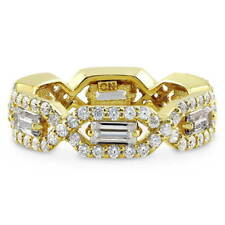 BERRICLE Gold Flashed Sterling Silver CZ Art Deco Eternity Band Ring 3.15 Carat