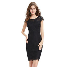 Women's Simple Fashion Black Short  Lacy Casual Party Cocktail Dress 05394