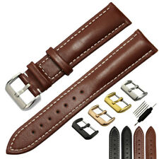 Watch Band Strap Genuine Leather Stainless Steel Buckle Mens Womens 18mm ~ 26mm