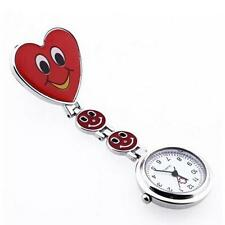 Fashion Womens Red Love Heart Quartz Watch Nurse's Brooch Fob Tunic Pocket Watch