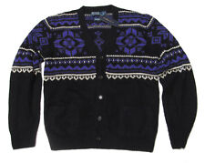 $1,195 Polo Ralph Lauren Mens Heavy Knit Black Cashmere Cardigan Sweater Jacket