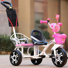 Newly Infant Twins Stroller Toddler Double Tricycle Ride-On Pram Steering Buggy