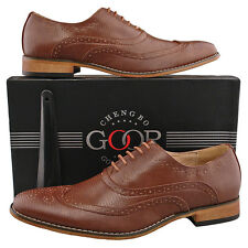 Mens New Dark Tan Brown Formal Smart Leather Lined Wingtip Oxford Brogue Shoes