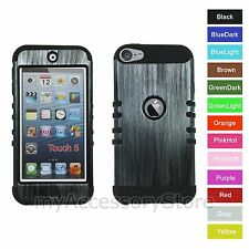 For iPod Touch 5th 6th GEN Metallic Wood Hybrid Hard&Rubber Rugged Armor Case