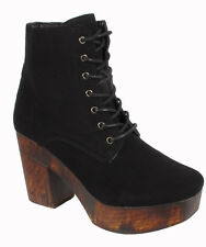 Ladies Ankle Boots Womens Wooden Effect Platform High Heels Lace Up Shoes Sizes