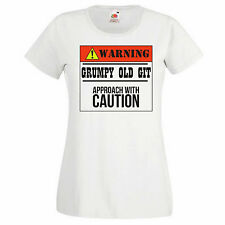 Women's Graphic T-shirt - Warning! Grumpy Old Git Approach With Caution