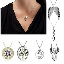 Fashion Women  Rhinestone Chain Crystal White Gold Plated Pendant Necklace