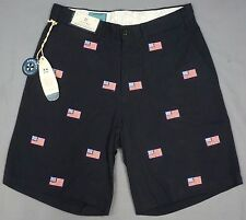 NWT $98 Castaway Navy Patriotic American Flags Chino Shorts Mens Size 30 36 NEW