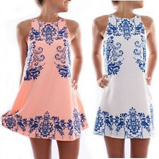 Vintage Women's Summer Sleeveless Cocktail Party Shift Mini Casual Beach Dress