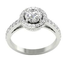 G/I1 Huge 1.90Ct Real Diamond Solitaire Halo Set Anniversary Ring Band 14Kt Gold