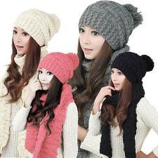 1Set Womens Warm Scarf & Hats Woolen Knit Hood Ladies Scarf Shawl Caps Hats Suit