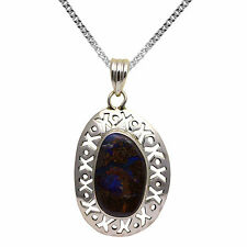 BJC® Sterling Silver Boulder Opal Pendant & Solid Sterling Silver Curb Necklace
