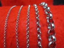 """2.5-10mm 16""""-84""""  SILVER STAINLESS STEEL CROSS LINK  ROLO ROPE CHAIN NECKLACE"""