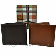 NEW Mens Quality LEATHER Bi-Fold WALLET by Mala Gift Boxed Stylish Brown or Tan