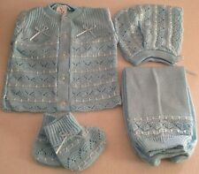 NEW 4pc NEWBORN BABY COMING HOME INFANT KNITTED OUTFIT BONNET & BOOTIES