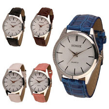 Womens Mens Ladies Leather Quartz Analog vintage Dress Bracelet Wrist Watch